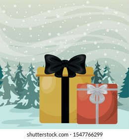 christmas snowscape scene with giftboxes presents vector illustration design