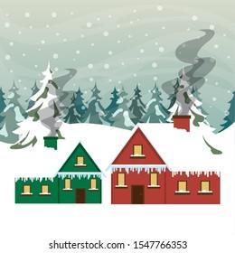 christmas snowscape scene with house vector illustration design