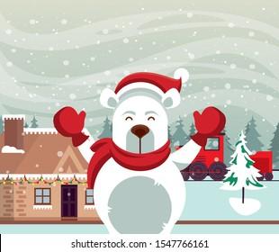 christmas snowscape scene with polar bear vector illustration design