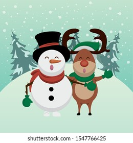 christmas snowscape scene with reindeer character vector illustration design