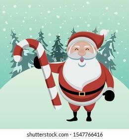 christmas snowscape scene with santa claus vector illustration design