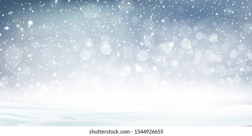 Christmas, Snowy landscape Vector Background. Holiday winter landscape for Merry Christmas with Snowstorm Sky Effect, blizzard, falling snow, snowflakes. Christmas scene. Happy new year.