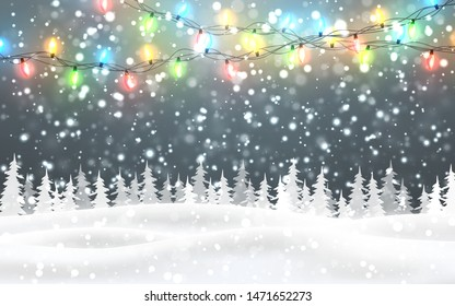 Christmas, snowy night woodland landscape with falling snow, firs, light garland, snowflakes for winter and new year holidays. Xmas winter background.