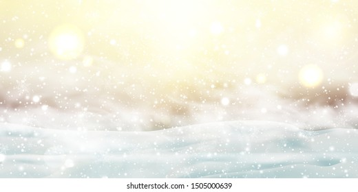 Christmas, Snowy Sunny day. Outdoors. Holiday winter landscape for Merry Christmas with Snowstorm, sun rays, blizzard, flying snow, snowflakes. Christmas scene. Happy new year. vector illustration.