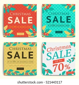 Christmas social media sale banners for mobile website ad. Xmas discount background for online shop, store, web page or cell phone. Promotional poster or flyer layout. Vector holiday promotion leaflet