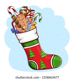 Christmas sock with gifts. Stocking with pattern of Xmas tree on a snow background. Festive decorations: lollipops (lollypops), Christmas gingerbread cookies, candies. Vector illustration. Hand drawn.