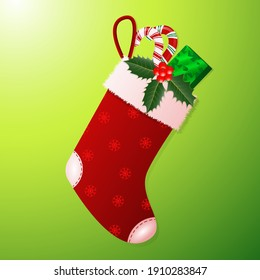 Christmas sock with gifts and sweets. Vector illustration on bright background