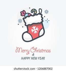 christmas sock vector icon