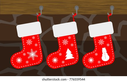 Christmas socks, red color, fireplace background