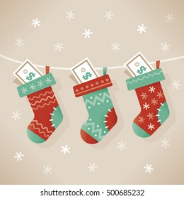 Christmas socks stuffed with money.  Idea - New year and new successful business year, Good wishes, Luck, Win, Big profit, Future investments results etc.