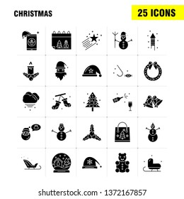 Christmas Solid Glyph Icons Set For Infographics, Mobile UX/UI Kit And Print Design. Include: Santa Clause, Santa, Christmas, Winters, Santa Clause, Santa, Collection Modern Infographic Logo and Picto