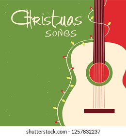 Christmas songs guitar on red green background.Vector greeting card with acoustic guitar and text