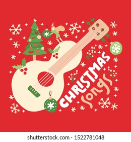Christmas songs guitar on red background.Vector greeting card with acoustic guitar and text