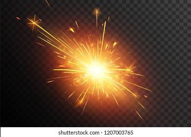 Christmas sparkler. Fiery sparks.  Firework effect. Star explosion. Sparkle burst.