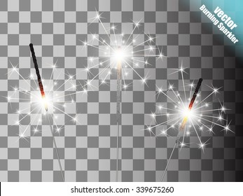 Christmas sparkler set. Vector eps10