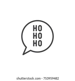Christmas speech bubble with ho ho ho line icon, outline vector sign, linear style pictogram isolated on white. Santa Claus laughter symbol, logo illustration. Editable stroke
