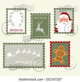 Christmas Stamp Set. Vector Illustration