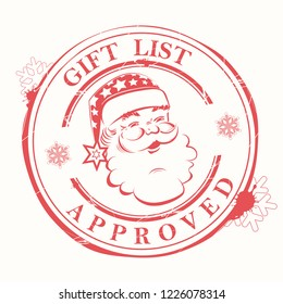 Christmas stamp with stains, blots and a silhouette of Santa Claus, design element.