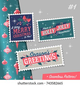 Christmas stamps with holiday greetings and pattern. Vector illustration