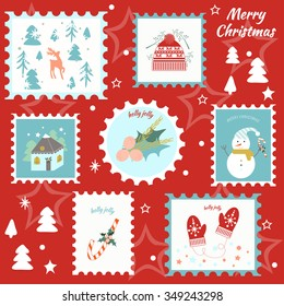 Christmas stamps set. Vector illustration. Can be used for gift box, invitation, greetings,  scrapbook, design, diary, stickers.