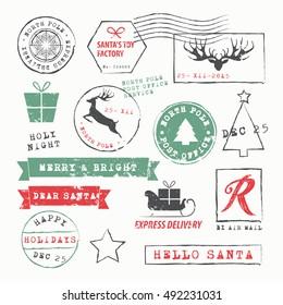 Christmas Stamps set. Vector Illustration