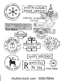 Christmas stamps vector pattern on white background