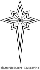 christmas star of bethlehem, eight-pointed, vector illustration