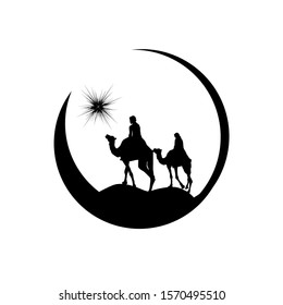 Christmas star camels with the Magi. Vector