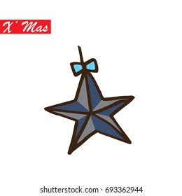 Christmas Star Decoration Outline Vector