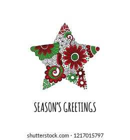 Christmas star doodle illustration with flowers, swirls and abstract shapes and Season's Greetings underneath on a white background
