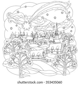 Fancy Landscape With Rustic Fields For Coloring Book Christmas Star Flies Over Winter Village Black And White Zentangle Patters The Best