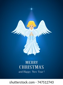 Christmas star and little Angel in blue sky. Text Merry Christmas and Happy New Year, illustration.
