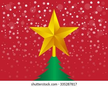 Christmas star on Christmas tree with snow fall