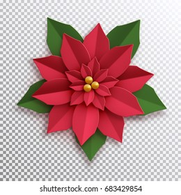 Christmas star. Paper poinsettia red flower. Vector illustration icon isolated.