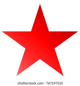 Christmas star red - simple 5 point star - isolated on white - vector illustration