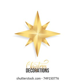 Christmas star. Shiny gold realistic star. Christmas decoration of gold metallic color.