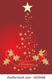 Christmas stars on red background with red ribbon