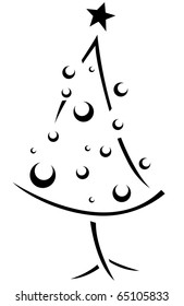 Christmas Stencil Featuring a Christmas Tree with a Retro Look