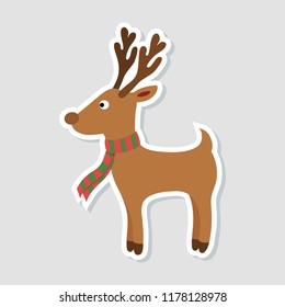 Christmas sticker. Cartoon rudolph deer with red scarf on white background. Winter icon. Vector illustration