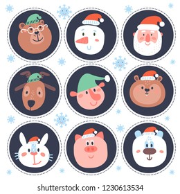 Christmas stikers with funny elements: snowflake, snowman, santa, dear, elf, pig, hamster, rabbit. Can be used for birthday party, New Year sticker, avatar, tag, cupcake toppers, clothes