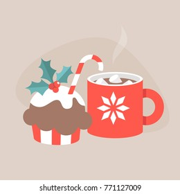 Christmas still life: a cup of hot chocolate with marshmallows and chocolate cupcake decorated with holly berries and candy cane. Flat editable vector illustration, clip art