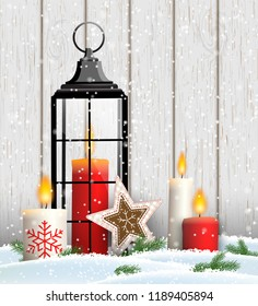Christmas still-life with candles and old black lantern on gray wooden background, vector illustration, eps 10 with transparency