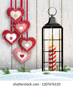 Christmas still-life with hanging hearts and vintage black lantern with burning candle on white wooden background, vector illustration, eps 10 with transparency