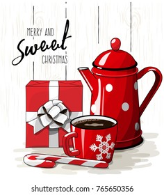 Christmas still-life, red gift box with white ribbon, red tea pot, candy cane and cup of coffee on white background with text Merry and sweet Christmas