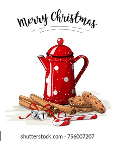 Christmas still-life, red tea pot, brown cookies with chocolate, cinnamon sticks and jingle bells on white background, with text Merry Christmas vector illustration, eps 10 wit transparency