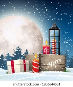 Christmas still-life, rustic wooden box, old lantern, candles, gift box in snowy landscape with big shinny moon on dark sky, vector illustration, eps 10 with transparency and gradient meshes