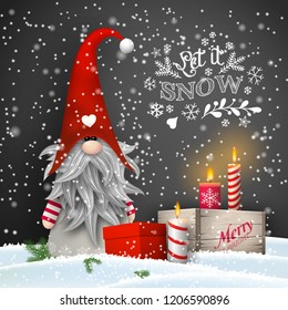 Christmas still-life, traditional Scandinavian dwarf Tomte with candles and gift boxes on black background with text Let it snow, vector illustration, eps 10 with transparency