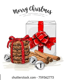 Christmas still-life, white gift box with big red ribbon, stack of brown cookies, cinnamon and jingle bells, with text Merry Christmas, vector illustration, eps 10 with transparency