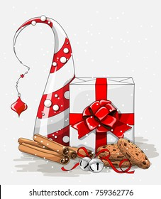 Christmas still-life, white gift box with big red ribbon, stack of brown cookies, cinnamon and jingle bellsand abstract chritmas tree, vector illustration, eps 10 with transparency