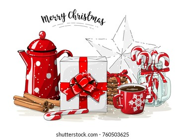 Christmas still-life, white gift box wit red ribbon, red tea pot, cookies, glass jar with candy canes, cinnamon sticks and cup of coffee on white background, vector illustration, eps 10 wit